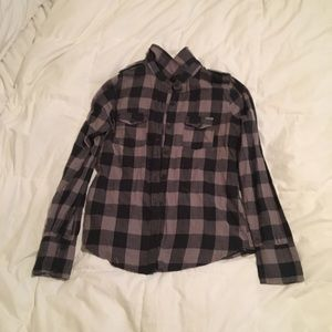 Roxy Black/Grey Button Up Flannel